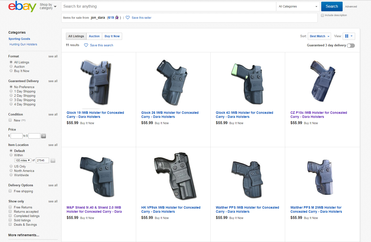 Dara Holsters on EBay