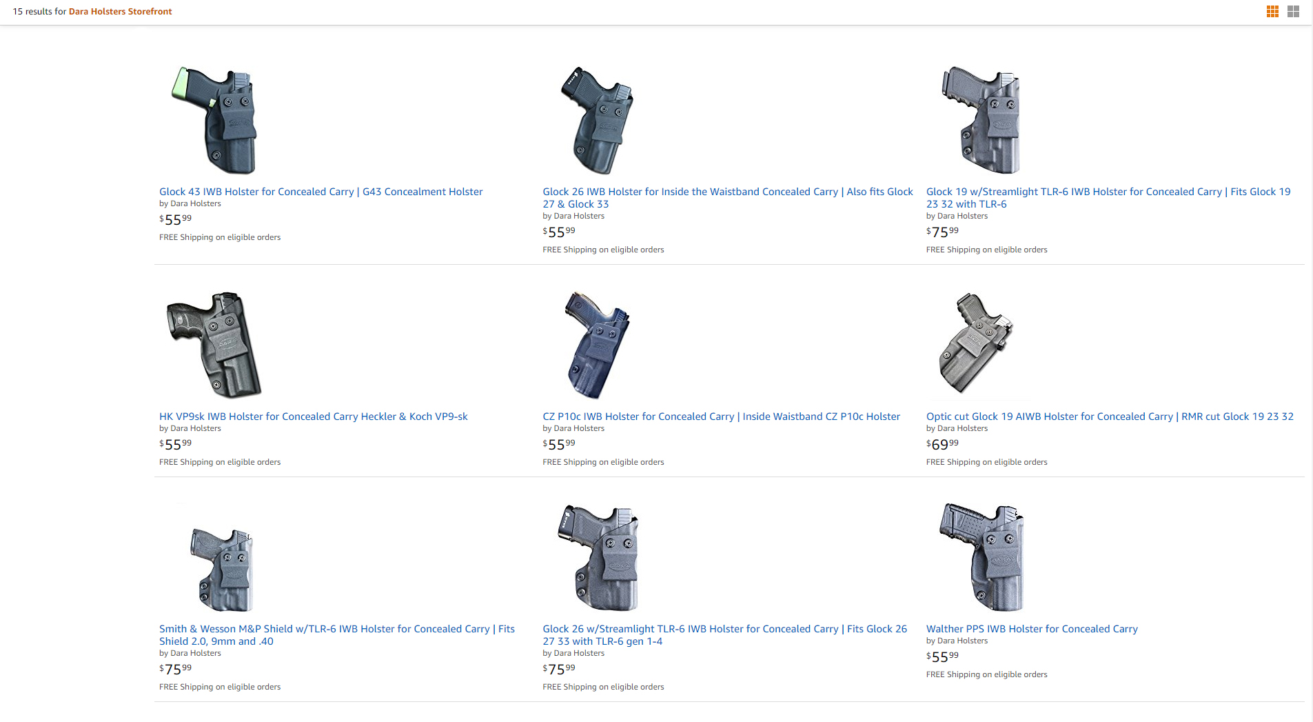 Dara Holsters on Amazon